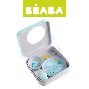 Zestaw prezentowy z melaminy: dwudzielny talerzyk, miseczka, kubeczek, śliniak i sztućce Rainbow, Beaba - Rainbow - 2853175148