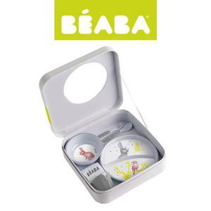 Zestaw prezentowy z melaminy: dwudzielny talerzyk, miseczka, kubeczek, śliniak i sztućce Bunny, Beaba - Bunny - 2853175149