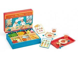 Drewniana restauracja dla dzieci + akcesoria spożywcze do zabawy, DJECO DJ06531 - 2840880530