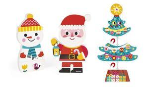Drewniana magnetyczna układanka Święta Bożego Narodzenia - Mikołaj, bałwan i choinka, JANOD J08033 - 2841518242