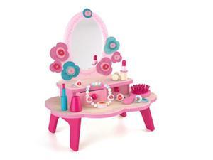 Drewniana toaletka dla dziewczynki - różowa toaletka i akcesoria, DJECO DJ06553 - 2879653202