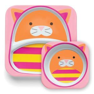 Zestaw jedzeniowy dla dzieci talerz dzielony + miska - naczynia dla maluchów Zoo Kot, SKIP HOP - kot - 2843321173