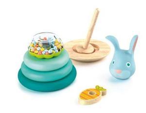 Drewniana układanka, gra - uciekający króliczek, nakładanka dla najmłodszych 18m+, DJECO DJ06414 - 2847881749