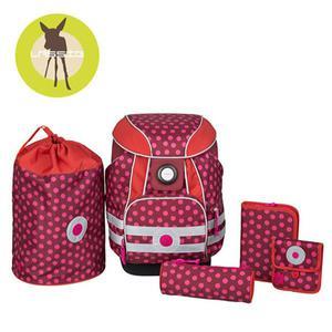 Lassig Plecak szkolny XL ze sztywnymi plecami, 2 piórnikami, workiem i saszetką Dottie red - 2853175537