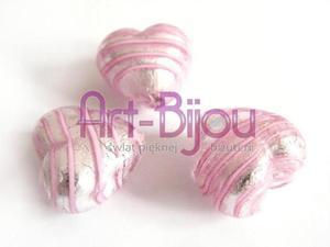 serca z różową wstążką ze srebrem 20 mm Murano - 2822779276