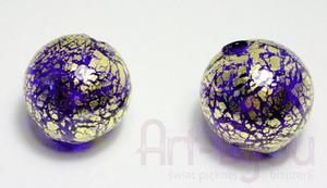 Bańki kobaltowe ze złotem 22 mm - Murano - 2822779470
