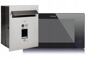 Zestaw wideodomofonu z szyfratorem Vidos S1401D-SKP_M1022B Skrzynka na listy z wideodomofonem Monitor czarny 7'' - 2859656964