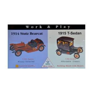 Model plastikowy - Samochody Work & Play - 1915 Ford T-Sedan / 1914 Stutz Bearcat - Glencoe Models - 2887025440