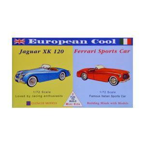 Model plastikowy - Samochody European Cool - Jaguar XK-120 / Ferrari 250 - Glencoe Models (2szt) - 2887027434