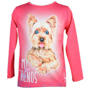 Różowa bluzka z pieskiem CARMEN - 2843322385