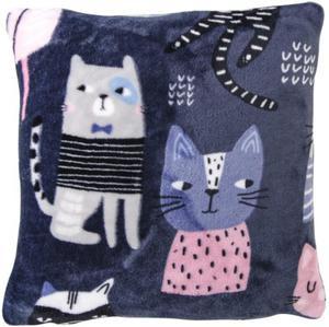 Niebieska poszewka dekoracyjna CATS 40x40 CM - 2859646759