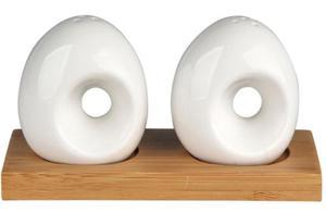 Porcelanowa solniczka i pieprzniczka na bambusowej podk - 2859646875