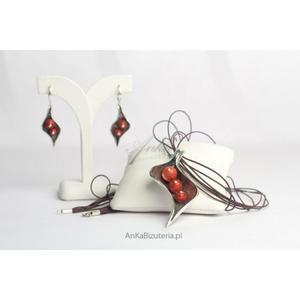 4 w 1 :Wisior Kolczyki Bransoletka Pierścionek Komplet z czerwonym z koralem listek - 2835351521