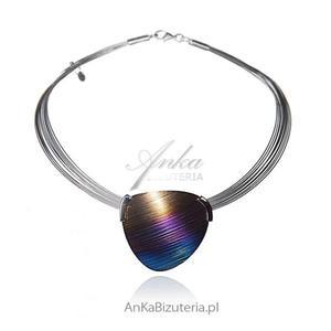 """Naszyjnik ze srebra i tytanu - Naszyjniki Srebrne """"Kolory tęczy""""- biżuteria artystyczna ręcznie wykonana - 2847832716"""