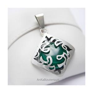 Srebrna biżuteria . Piękny Wisior z Malachitem - 2835353084