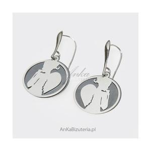 Kolczyki srebrne z okydowanym srebrem - Romantyczna Anielicę - 2835352401