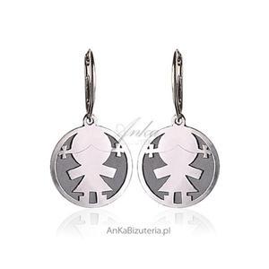 Dzidziuś -dziewczynka- srebrne oksydowane kolczyki dla Kobiet, Dziewczyn, dla Mamy - 2850963386