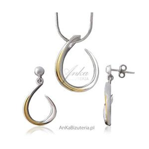 Kobieca biżuteria -srebrny komplet rodowany i pozłacany - 2835352106