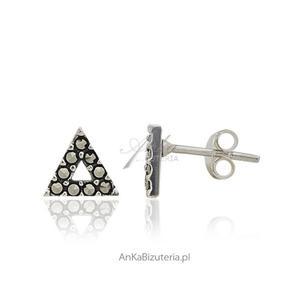 Kolczyki srebrne z markazytami - wkrętki - w kształcie trójkąta - 2835352383