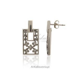 Kolczyki srebrne - w kwiatki z cyrkoniami - na wkrętki - 2835352171