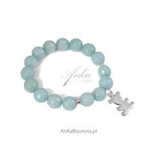 Bransoletka z jadeitem i srebrnym misiem - biżuteria, którą kochają celebrytki! - 2835351916