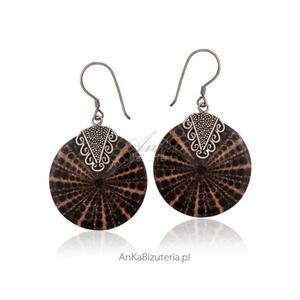 Kolczyki z muszli ze srebrem - artystyczna biżuteria - 2835352429