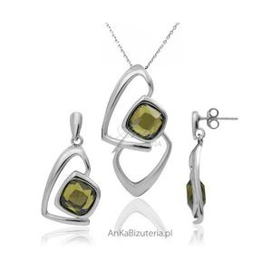 Komplet srebrny rodowany z piękna oliwkową cyrkonia - 2835352555
