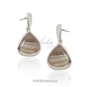 Agat botswana - kolczyki srebrne -Piękny kamień! - 2843479975