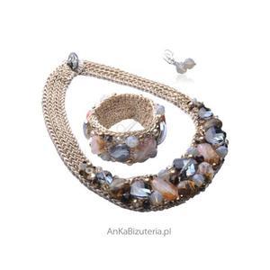 Biżuteria autorska - naszyjnik ,bransoletka z kolczykami Swarovski - 2835351548