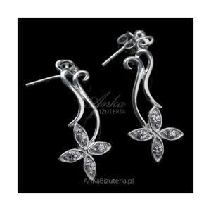 Kolczyki srebrne kwiatki z białymi cyrkoniami - 2835352219