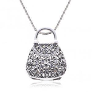 Wisiorek srebrny z markazytami Srebrna torebeczka - 2835353379
