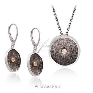 Srebrny komplet biżuterii Komplet srebrny oksydowany Artystyczna biżuteria - 2835353198