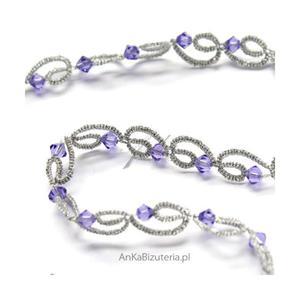 Złota kolia z kryształami Swarovski lilia z frywolitki - 2835353465