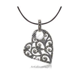 Modna biżuteria - wisiorki srebrne - Serce srebrne z markazytami - 2835352658