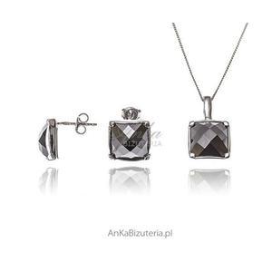 Komplet srebrny rodowany z czarną cyrkonią - 2835352553