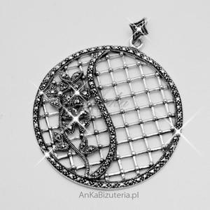 Modna biżuteria . Wisior srebrny z markazytami - 2835352660