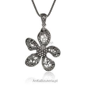Zawieszka srebrna z markazytami. Biżuteria na prezent. - 2835353446