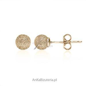 Kolczyki srebrne złocone 18 k złotem diamentowane - 2835352406