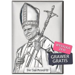 Dewocjonalia Obrazek srebrny Papież Jan Paweł II - 2835351987