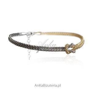 Biżuteria włoska Bransoletka srebrna rodowana i pozłacana - 2835351691