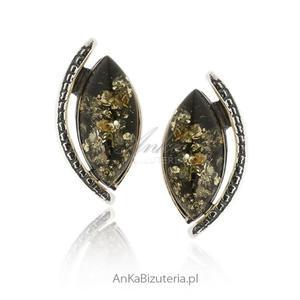 Kolczyki srebrne z zielonym bursztynem - 2842072754