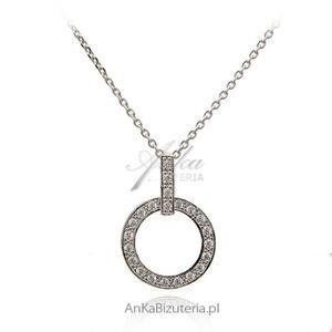 Modna biżuteria: Naszyjnik srebrny z kółeczkiem i cyrkoniami - rodowany - 2842350985