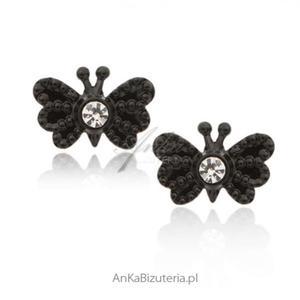 Kolczyki srebrne Czarne motylki z cyrkoniami - 2835352195