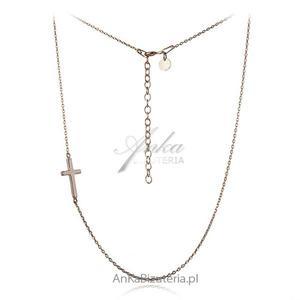 Łańcuszek srebrny pozłacany z krzyżykiem poprzecznym. - 2835353505