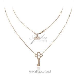 Kluczyk naszyjnik srebrny pozłacany - Naszyjnik gwiazd - 2836520935