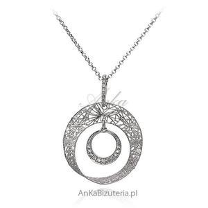 Modna biżuteria srebrna Naszyjnik z koronkową zawieszką - 2835352671