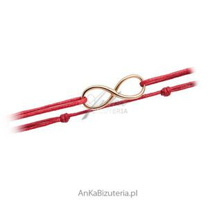 Bransoletka złota nieskończoność na czerwonym sznureczku - 2847832696