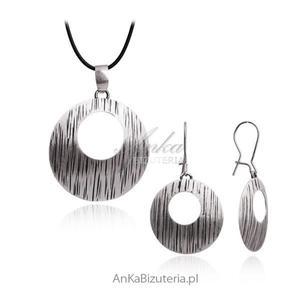 Modny Komplet srebrny oksydowany - 2842350986