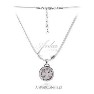 Naszyjnik srebrny Koniczynka na białym sznureczku. - 2835352762