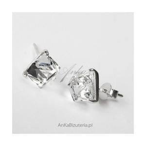 Srebrne kolczyki z Kryształem Górskim małe kwadraciki - 2836520943